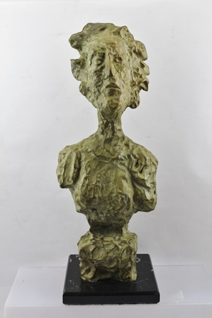 AFTER GIACOMETTI A BRONZE BUST ANNETTE, on a polished base, limited edition no. 9/80, 44cm high