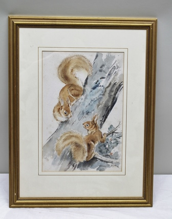 EILEEN A. SOPER Red Squirrels on a Tree Trunk, Watercolour, signed, 37cm x 24.5cm, mounted in a bead decorated gilt glazed frame