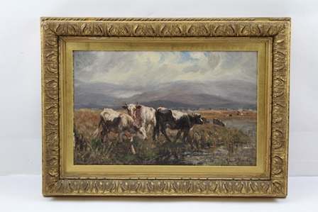 JOHN RABONE HARVEY (1866-1933) A Misty Morning in Wales, depicting a landscape study with cattle in the foreground, the hills of Wales beyond, an Oil on board, signed, bears label verso S. Keeley & Sons, Fine Art Dealers, 26 Whittall Street, Birmingham, 22cm x 35cm in an ornate gilt frame