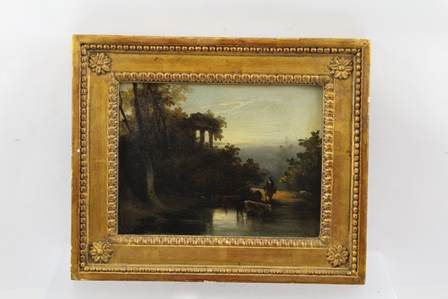 STUDIO OF GEORGE CHINNERY (1774-1852) Wooded River Capriccio, with drover and cattle, an Oil on canvas, 15cm x 20cm in beaded gilt frame with rosettes to the corners (see Spink paper label verso, we are also in possession of the Spink & Son Ltd., 5, 6 & 7 King Street, St. James, London receipt for this painting dated 28/6/(19)90, invoice no. PIC8324 - stock; CHIG K2 5449 for the sum of £9,000)