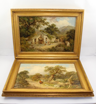 ENGLISH SCHOOL Rural landscapes depicting cottage and lane scenes with figures, a PAIR, Oils on canvas, 29cm x 45cm in gilt frames