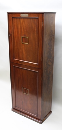 AN EARLY 19TH CENTURY MAHOGANY TWO DOOR SPECIMEN CABINET fitted 27 drawers, 176cm high x 67cm x 36cm, bears label Yarrell (William Yarrell 1784-1856 - One of the very early Victorian collectors, publishing several books in his lifetime including The History of British Fishes 1836 and A History of British Birds 1843. He acquired the reputation of being the best shot and best angler in London. Yarrell was one of the original members of The Zoological Society of London and in 1833 he was one of the founders of what became The Royal Entomological Society of London. He served for many years as Treasurer for both The Entomological Society and The Linnean Society.  This piece was one of his original cabinets for storing his entomologicalspecimens and is an important piece of British entomological history dating from the 1840s-50s. Re-lined and ready for use).