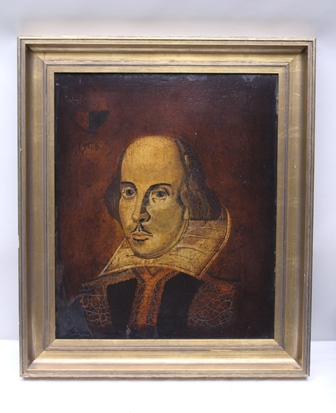 AFTER DROESHOUT WILLIAM SHAKESPEARE, portrait of the Bard (after the engraving by Martin Droeshout, used as the frontispiece of the First Folio), 59cm x 50cm in moulded gilt frame