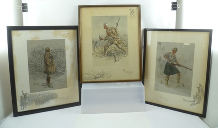 AFTER SNAFFLES (CHARLES JOHNSON PAYNE 1884-1967) GOOD HUNTING! OLD SPORTSMAN, (The Gunner) hand coloured print. with embossed snaffle bit blind stamp to margin, size of central image 28cm x 20cm. Plain ebonised frame and glazed, together with Jock and The Canadian with blind stamps and remarques, all framed.