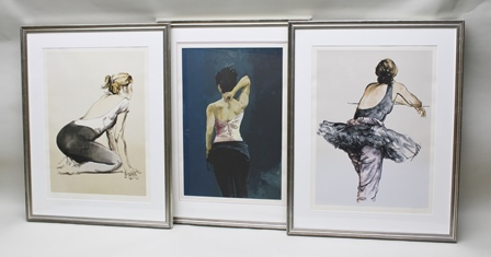 AFTER DONALD HAMILTON FRASER Three limited edition screen Prints of Dancers, individually signed and numbered in pencil, with certification from Christies Contemporary Art Galleries, each 49cm x 68cm image size, in moulded silvered glazed frames