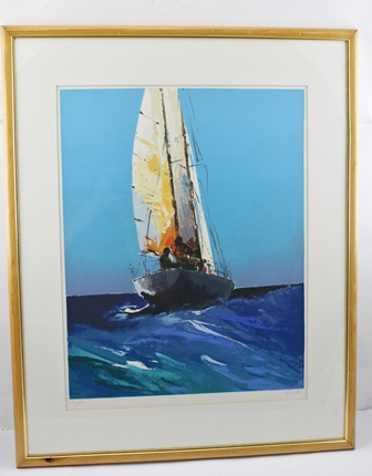AFTER DONALD HAMILTON FRASER Sailing Boat a limited edition coloured Lithograph, no.154/250, signed in pencil by the artist, 58cm x 44cm, in glazed pine frame