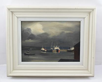 FRANK JAMESON  Cornish Fishing Boat, 19th century Oil on board, 24cm x 34cm in white wood frame (bears stamp verso - Frank Jameson Studio Sale 10th May 1994, W.H. Lane & Son)