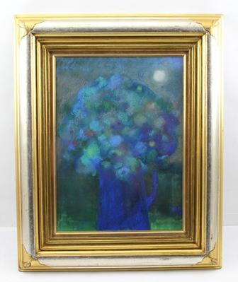 MARY HACKNEY Night Flowers, Pastel Oil, monogrammed, 38cm x 28cm, in gilt glazed frame