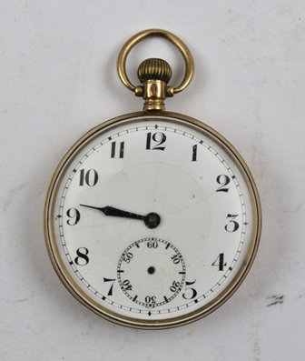 A 9CT GOLD CASED GENTLEMANS POCKET WATCH having white enamel dial with Arabic numerals