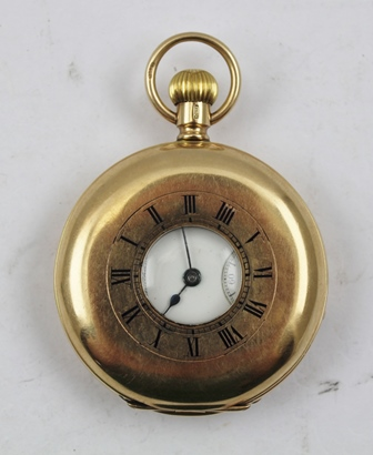 A 9CT GOLD HALF HUNTER GENTLEMANS POCKET WATCH with an American Waltham movement (case is English and hallmarked Chester 1916), the white enamel dial with secondary dial and Roman numerals