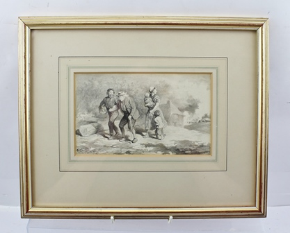 CHARLES GREEN (1840-1898) War, featuring figures fleeing conflict, a Pencil and Monochrome Wash, signed, titled and dated 26/10/1860, 12cm x 19cm in gilt glazed frame
