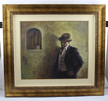 HAMISH BLAKELY Every Woman Likes a Bad Boy, man wearing a trilby hat in a cell, Oil painting on canvas, signed, 48cm x 55cm in antique finished gilded frame (see personal inscription verso)