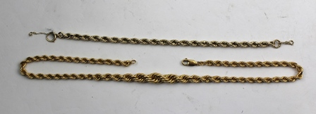 AN 18CT GOLD FANCY ROPE LINK NECKLACE, 45cm long (including clasp), 20g., together with an unmarked rope twist BRACELET