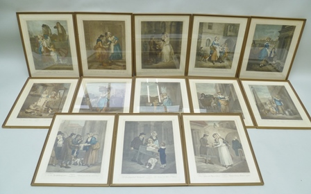 A SET OF THIRTEEN CRIES OF LONDON COLOURED PRINTS, 40cm x 30cm each in a moulded gilt glazed frame