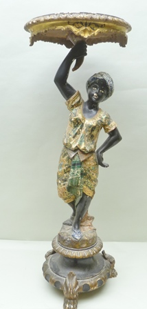 A LATE 19TH CENTURY BLACKAMOOR PEDESTAL, carved pine with gesso and polychrome finish, the figural stem supporting a cornucopia handled circular stand as an occasional table or torchere, raised upon a socle base with three carved paw feet, 106cm high