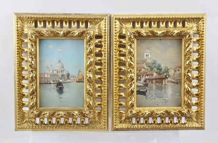 MILO BARTOLOZZI A Venetian view with a Gondola in the foreground, a Gouache, signed, 15cm x 10cm in gilded florentine glazed frame, together with ONE OTHER VENETIAN WATERCOLOUR, believed to be by the same artist, in matching Florentine frame