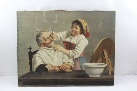JULES ZERMATI (Italian active 1880-1920) Close Shave, depicting a young woman shaving an elderly man, with a cut throat razor, a bowl and mirror on the table, an Oil on canvas, signed J. Zermati, 45cm x 58cm unframed