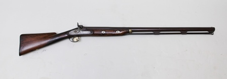 WHARTON & EVANS A 19TH CENTURY 7 BORE PERCUSSION WILD FOWLING GUN having 36 single balustered barrel, circa 1840s