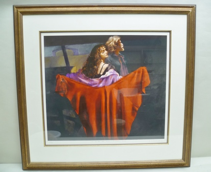 AFTER ROBERT O. LENKIEWICZ The Painter with Karen - St. Antony Thene, depicting the Artist and his Model, a limited edition coloured Print no. 20/495, signed and titled, 64cm x 72cm (image size) in decorative double mount and moulded gilt frame