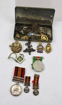 A SOUTH AFRICA MEDAL, on ribbon with two bars Orange Free State and Cape Colony, awarded to: 6298 TPR G. Webster 34th Coy Imp Yeo, together with TWO MINIATURES OF THE MEDAL, ONE OTHER MEDAL AND A COLLECTION OF MILITARY AND OTHER BADGES