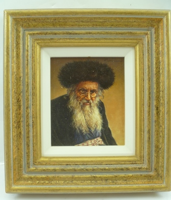 ANDRZEJ KONSTANTY SZEWCZENKO (Polish b. 1963 - ) A Man of Learning, a portrait of an elderly Haredi Jewish man, wearing a shtreimel and pince-nez, an Oil on panel, signed upper right, 15cm x 12cm in gilt frame