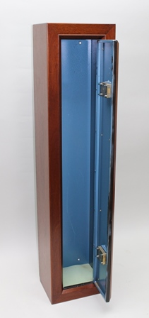 A GUN CABINET, the steel cabinet with double locks, encased in a craftsman made mahogany cabinet (with two sets of keys)