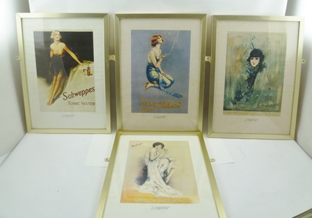 A SET OF EIGHT SCHWEPPES ADVERTISING PRINTS, featuring glamorous young ladies, image size 30cm x 21cm in plain gilt metal glazed frames