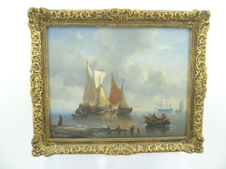 GEORGE WILLEN OPDENHOFF (Dutch 1807-1875) Marine Activity, sailing barges moored off the coast, in the foreground figures and row boats, with a three-masted ship at anchor in the distance, Oil on panel, signed lower left, see various labels verso, includes typed and hand written 20 small marines by Opdenhoff Dutch artist, 28cm x 36cm in an ornate gilt frame