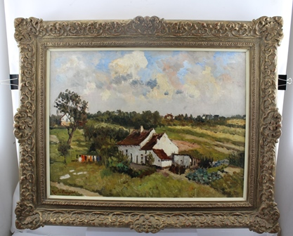 RENE LE BAUGNIES Site De Verrewincket, a white washed cottage with washing on the line, Oil on canvas, signed, 45cm x 60cm in an ornate gilt frame