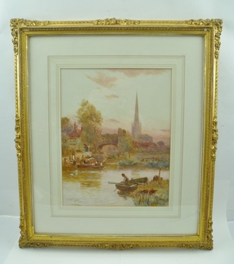 STUART LLOYD Norwich from the River, narrow boats, other boats and figures in the foreground, Watercolour painting, signed and dated 1904, 29cm x 22cm, in ornate gilt frame, mounted and glazed