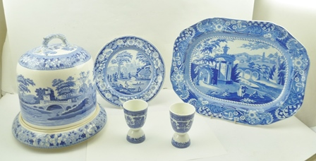 A LATE VICTORIAN BLUE AND WHITE TRANSFER PRINTED CHEESE BELL WITH STAND, a blue and white MEAT PLATE, 43cm, a single PLATE with transfer decoration, and a pair of reversible EGG CUPS