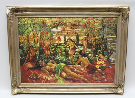 AFTER ADRIEN-JEAN LE MAYEUR (1880-1958) Bermain di Kaam (playing in the pool), an Indonesian-Bali fantasy of semi-clad young women playing in and resting in the shade of a water lily pond in a secluded garden (A copy of a known work), inscribed lower left, Oil on canvas, 69cm x 99cm in an ornate gilt frame