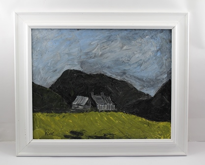 SCHOOL OF KYFFIN WILLIAMS  Welsh Landscape, possibly Anglesey, depicting a grey stone cottage in the shelter of the Black Mountains, impasto Oil painting on canvas, bears monogram KW, 40cm x 50cm in a white painted wooden frame (stretcher stampedClifford Milburn.fine