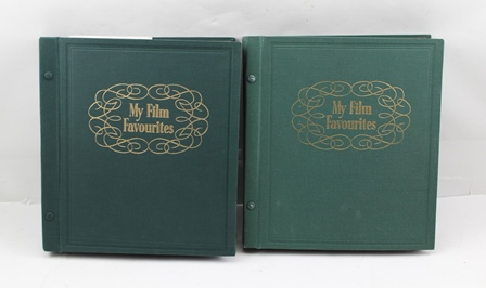 TWO ALBUMS OF POSTCARDS, SEPIA, AND BLACK AND WHITE PORTRAITS OF EARLY TO MID 20TH CENTURY MOVIE STARS AND ENTERTAINERS - SOME AUTOGRAPHED, includes Stan Laurel and Oliver Hardy, the green cloth covered albums are gilt printed My Film Favourites to the fronts, in original card outer boxes