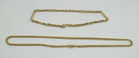 TWO 9CT GOLD NECK CHAINS, one of fancy elongated link design, total weight 53g.