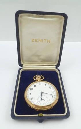 A ZENITH EARLY 20TH CENTURY 9CT GOLD OPEN FACE POCKET WATCH, white enamel dial with Arabic numerals and secondary dial, case by Dennison, hallmarked Birmingham 1922, movement back plate engraved Zenith 2433255, in original vendors case