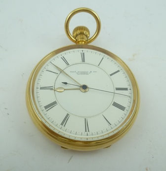 A MID 19TH CENTURY 18CT GOLD CASED OPEN FACE DOCTORS POCKET WATCH by Thomas Russell & Son Liverpool, having white enamel dial with Roman numerals, movement back plate engraved and numbered 108112