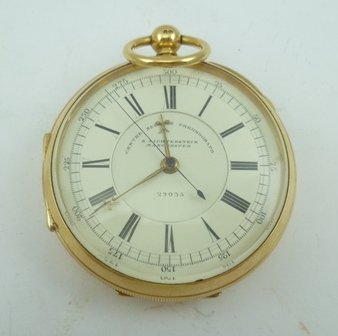 A MID 19TH CENTURY 18CT GOLD CASED OPEN FACE DOCTORS POCKET WATCH made for S. Lichtenstein Manchester with centre second chronograph, inscribed upon the dial, no. 29035, key wind movement (with key), Chester 1887