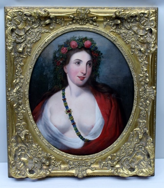 19TH CENTURY EUROPEAN SCHOOL SUMMER, a bust length portrait of a young woman classically draped, wearing a floral garland in her hair, an Oil on canvas, 60cm x 49cm in an ornate gilt frame with central oval