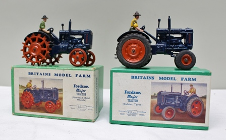 W BRITAINS MODEL FARM DIE-CAST VEHICLES including Fordson Major Tractor (Rubber tyres 128F), Fordson Major Tractor (Spudded metal wheels 127F) both in OVB (2)