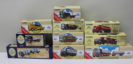 CORGI CLASSIC DIE-CAST COMMERICAL VEHICLES BREWERY SERIES including 97931 AEC Flatbed Greenall Whitley, 97372 Atkinson Cylindrical tanker Mackeson, 97370 AEC 4-wheel Flatbed with Federation Brewery, 20901 AEC Chains and Barrel set Truemans, 23201 Bedford TK 4 Wheel Platform lorry with barrels Guinness, 27901 Atkinson Articulated tanker Baux Breweries Ltd, 97334 Atkinson 8-wheel Rigid with crates Lucozade, 27701 Seddon Atkinson Horse tranpsorter set Whitbread, 24901 Leyland Beaver platform lorry with trailer and transportable tanks Guinness, 97366 Atkinson 8-wheel Rigid with trailer and load Tennant all in OVB (10)