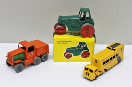 BUDGIE DIE-CAST MODELS AVELING BARFORD ROAD ROLLER 701 in OVB and Budgie Toys Mobile Traffic AA Mobile Traffic Control Unit with Seddon diesel truck and another diecast vehicle BRS 37 6-wheel truck