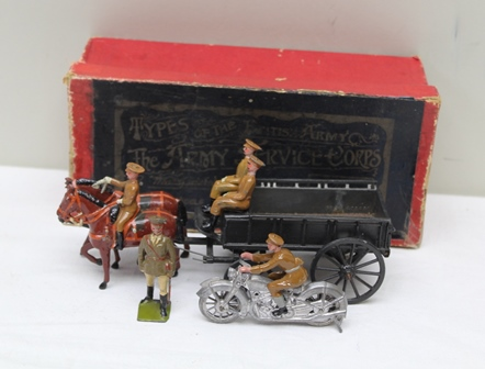 W BRITAIN NO.146A TYPES OF THE BRITISH ARMY, THE ARMY SERVICE CORPS, horsedrawn four wheel cart with three figures in its original box together with a motor cycle and rider, standing officer with cane