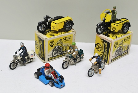 MORESTONE SERIES DIE-CAST MODELS of two AA Scout Patrol motorcycles and sidecars with riders in OVB together with four various motorcycles with riders