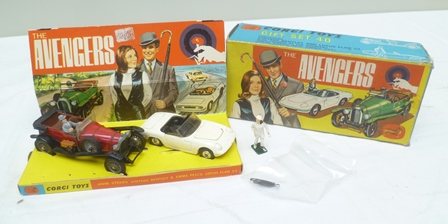 CORGI TOYS DIE-CAST AVENGERS GIFT SET NO.40 containing vintage Bentley and Lotus Elan S2 and figures of the Avengers John Steed and Emma Peel, complete with three umbrellas, in display style OVB