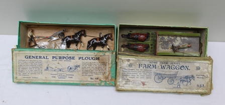 W BRITAIN 6F GENERAL PURPOSE PLOUGH with two horses and farmer in original box together with Home Farm Series farm wagon 5F old farm cart with pair of shires and farmer with whip in remains of original box