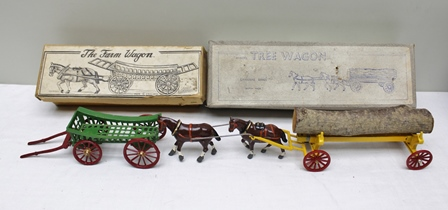 CHARBONS SERIES BRITISH MADE DIE-CAST MODEL of a Tree Wagon together with two shire horses and log in OVB, together with die-cast model of a four wheel horse drawn farm cart in OVB