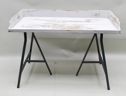 A PAIR OF GEORGIAN OAK PRESS TRAYS, having three-quarter upstand and later distressed paint finish, each currently supported on a pair of metal contemporary trestles, the tops 115cm x 56cm, standing 72cm high