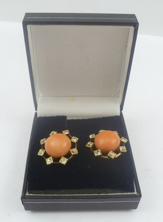 A PAIR OF LARGE CORAL AND DIAMOND EARRINGS fitted posts, the butterfly clasps stamped 750
