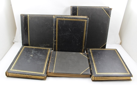 A COLLECTION OF SIX BOUND COMMON PLACE OR SCRAP BOOKS RELATING TO THE WATKINS, WILLIAMS WYNN FAMILY, circa 1890-1900, includes letters, menus, cards, paper clippings, includes items related to His Royal Highness The Prince of Wales, the albums of varying size, all either black leather bound or black half calf